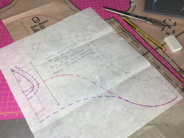 Drafting a facing pattern piece