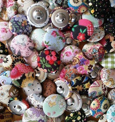 Covering buttons with fabric