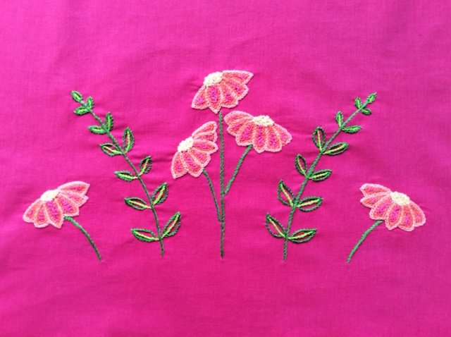 Contemporary floral embroidery project