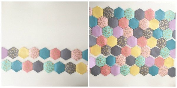 Joining hexagon shapes whilst English Paper piecing