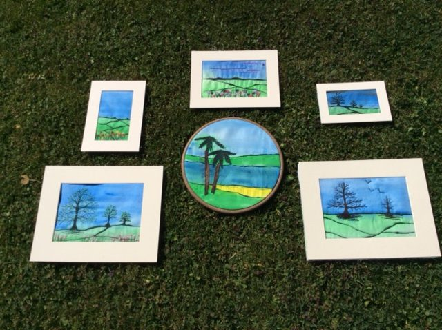 Free motion embroidered landscape project