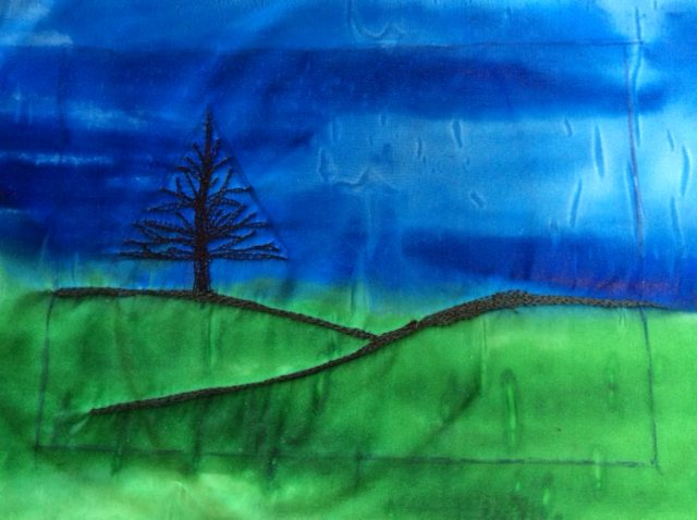 Easy free motion embroidery landscape project