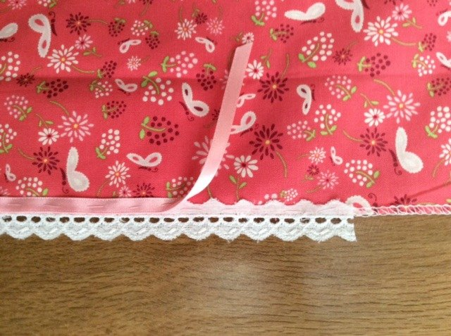 Adding decorative trim to a girl's skirt