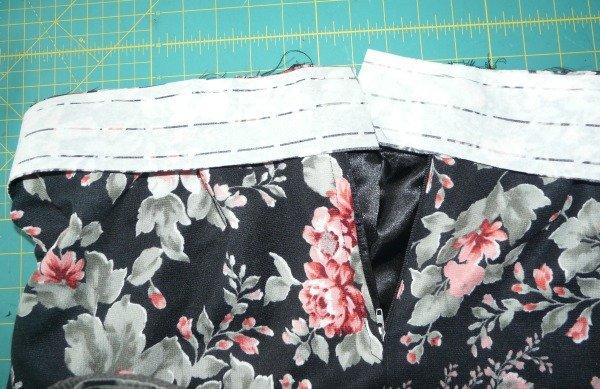 Pinning a skirt waistband