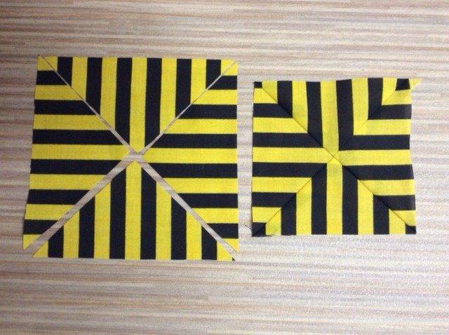 Quilt blocks using striped fabrics