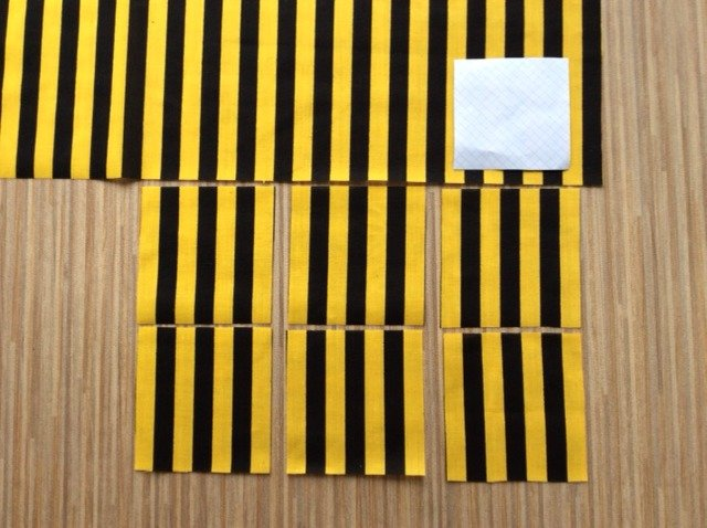 Patchwork designs using striped fabric