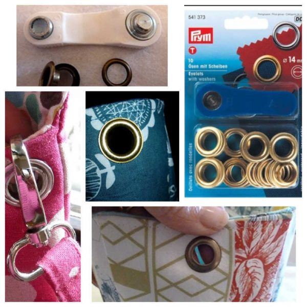 Adding eyelets to a bag