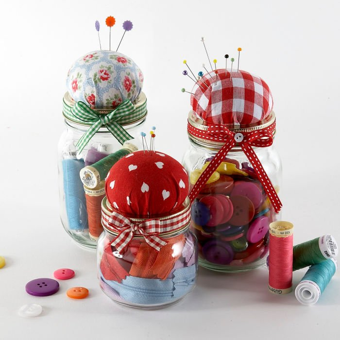 Jam jar pincushion project