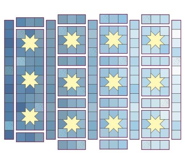 Modern sawtooth star quilt project