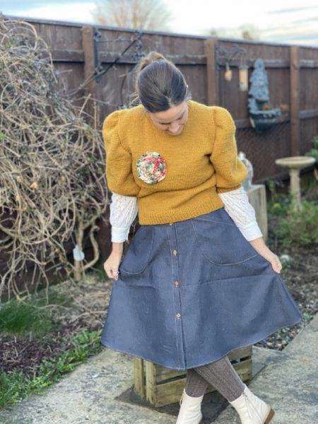 Flared denim skirt sewing pattern