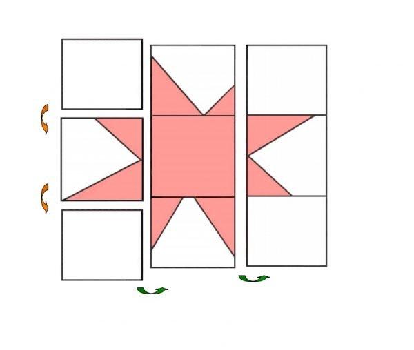 Wonky star quilt block diagram