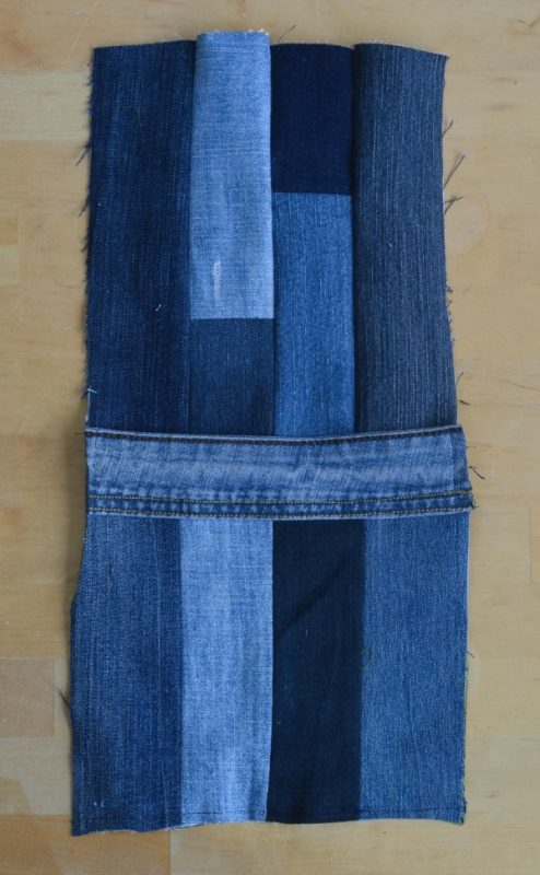 REcycled old jeans into a large tote bag