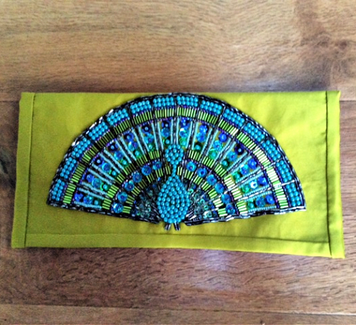 How to sew a peacock beaded clutch bag
