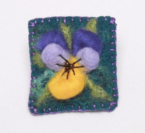 Beginner's needle felt brooch project