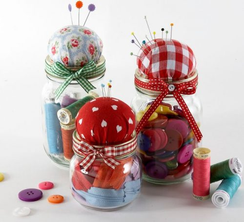 Jam jar pincushion project