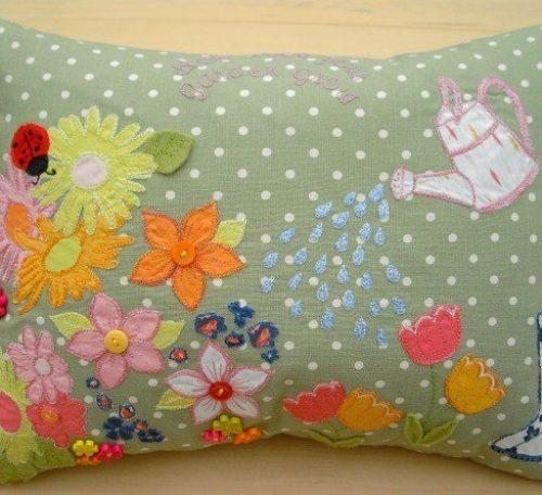 Stitch a garden applique cushion