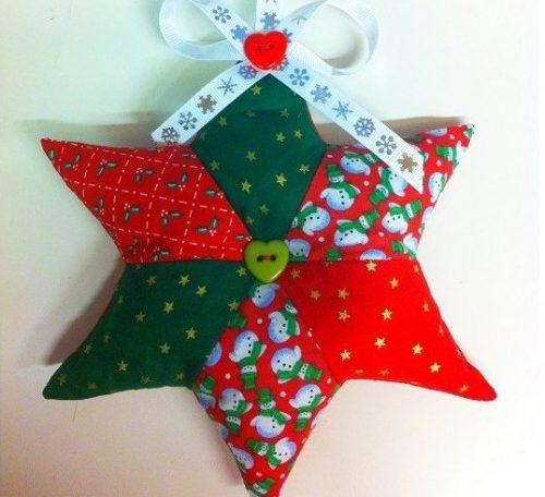 Patchwork star hanging decoration tutorial