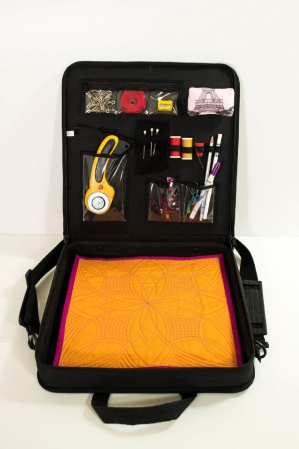 quilter's travel case for carrying quilting supplies to workshops