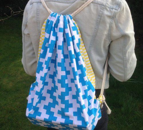 Upcycled tea towel backpack