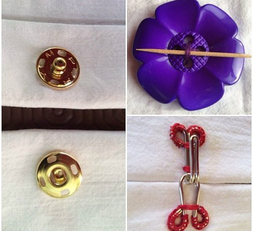 Sewing with buttons, poppers and hooks and eyes